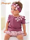 Girl\'s Summer Short Sleeve Bow Purple T-shirts + Flora Short Pants + Hair Band 3pcs Sets(Cotton)