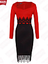 YUEMIAN™ Women's Long Sleeve Slim Round Collar Bodycon Lace Dresses