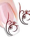 1 Vattenövergångsklistermärke 3D Nail Stickers Blomma Abstrakt Mode Dagligen Hög kvalitet