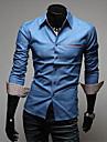 ocazional / muncă barbati / tricouri oficiale cu maneci pur lung regulate (amestecuri de bumbac / bumbac)