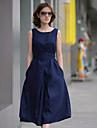 Ärmlös KVINNOR Klänningar (Polyester)med Rund i Casual stil