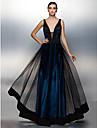Linia -A Gât V Lungime Podea Tulle Bal Seară Formală Rochie cu Eșarfă / Panglică de TS Couture®