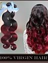 """4 st mycket 14 """"-28"""" ombre peruanska kroppen våg jungfru mänskliga hårförlängningar / väver 2 två tonar vinröd vinröd 1b / 99j"""