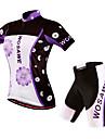 WOSAWE Maillot et Cuissard de Cyclisme Femme Manches Courtes Velo Shorts Rembourres Maillot Cuissard  / Short Ensemble de Vetements