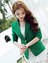 Women\'s Work Simple Spring Fall Blazer,Solid Solid Color Notch Lapel Long Sleeve Regular Acrylic Polyester