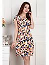 Pentru femei Mărime Plus Size Rochie - Flori / Bufantă / Ruched Lungime Genunchi