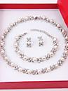 Pentru femei Perle Diamante Artificiale Set bijuterii Include 1 Colier 1 Pereche de Cercei 1 Brățară - Elegant Perle Diamante Artificiale