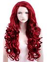 人工毛ウィッグ カール レッド サイドパート レッド 合成 女性用 高品質 レッド かつら ロング キャップレス