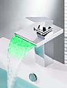Nutida Centerset Vattenfall LED Keramisk Ventil Ett hål Singel Handtag Ett hål Krom, Badrum Tvättställ Kran