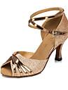 Pentru femei Pantofi Dans Latin / Sală Dans Imitație de Piele Sandale Cataramă Toc Flared Personalizabili Pantofi de dans Argintiu / Auriu / Violet / Pentru copii / Interior / Antrenament