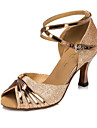 Žene Cipele za latino plesove / Standardni Umjetna koža Sandale Kopča Deblja visoka potpetica Moguće personalizirati Plesne cipele Srebrna / Zlatna / Ljubičasta / Dječji / Unutrašnji / Vježbanje