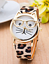 Women\'s Ladies Wrist Watch Quartz Cat Quilted PU Leather Black / White / Brown Casual Watch Analog Casual Fashion - Black Coffee Leopard One Year Battery Life / SSUO 377