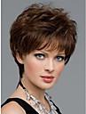 Syntetiskt hår peruker Rak Pixie-frisyr Med lugg Utan lock Naturlig peruk Korta Brun