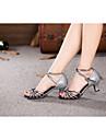 בגדי ריקוד נשים נעליים לטיניות נצנצים / Paillette / סינטתי סנדלים נצנצים / אבזם / עניבת פרפר עקב קובני ללא התאמה אישית נעלי ריקוד אדום /