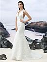 Trompetă / Sirenă În V Mătura / Trenă Dantelă Made-To-Measure rochii de mireasa cu de LAN TING BRIDE®