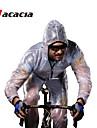 Acacia Manches Longues Veste de Cyclisme - Blanc / Vert / Gris Velo Ensemble de Vetements, Pare-vent, Respirable, Sechage rapide, Bandes Reflechissantes, Hiver Couleur unie / Elastique / Etanche