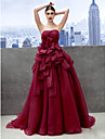 De Baile Decote Princesa Cauda Capela Organza Baile de Formatura / Evento Formal Vestido com Camada de TS Couture®
