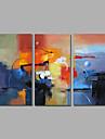 HANDMÅLAD Abstrakt Horisontell,Moderna Tre paneler Hang målad oljemålning For Hem-dekoration
