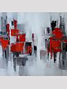HANDMÅLAD Abstrakt Fyrkantig, Moderna Duk Hang målad oljemålning Hem-dekoration En panel