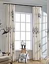 Margine cu inele de trecere Pliuri Triple Două Panouri Tratamentul fereastră Țara Modern Neoclasic, Broderie Dormitor Amestec In / Bumbac
