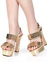 Damă Pantofi Piele Vară Toc Îndesat pentru Casual Auriu