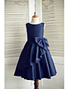 A-Line Knee Length Flower Girl Dress - Taffeta Sleeveless Scoop Neck with Bow(s) by LAN TING Express