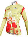 ILPALADINO Femme Manches Longues Maillot de Cyclisme - Jaune Clair Velo Maillot, Sechage rapide, Respirable