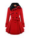 Femei Vintage Femei Palton Manșon Lung Lână / Bumbac / Altele