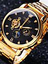 Heren mechanische horloges Automatisch opwindmechanisme Roestvrij staal Goud 30 m Waterbestendig Hol Gegraveerd Creatief Analoog Luxe Glitter - Wit Zwart Gouden / imitatie Diamond
