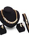 Pentru femei Zirconiu Cubic 18K Aur Set bijuterii Include Brățară Σκουλαρίκια Coliere Inel - Vintage Draguț Petrecere Birou Casual