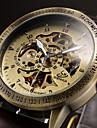 Heren Skeleton horloge Polshorloge mechanische horloges Automatisch opwindmechanisme Leer Zwart / Bruin Hol Gegraveerd Analoog Luxe - Zwart Bruin
