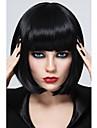 Synteettiset peruukit Suora Tyyli Bob-leikkaus Suojuksettomat Peruukki Musta Synteettiset hiukset Naisten Musta Peruukki Lyhyt StrongBeauty Luonnollinen peruukki