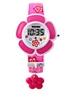 Barn Armbandsklocka Modeklocka Digital LED PU Band Berlock Rosa Lila