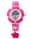 Barn Modeklocka Armbandsklocka Digital LED PU Band Rosa Lila