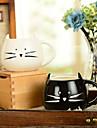"""300 ml alb-negru drăguț pisică de pisică pentru pahare de apă creatoare (5.1 """"x4.3"""" x3.7 """")"""