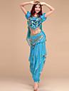 Belly Dance Outfits Women\'s Performance Spandex Chinlon Draping Top Pants Belt Headwear