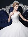 Rochie cu bile de pe podea de umăr lungime tul rochie de mireasa cu cristal de lan ting bride®