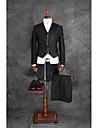 Negru Mată Fit Croit Amestec Bumbac Costum - Cresătură Sacou cu 4 Nasturi în Şir Dublu