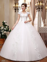 Haine Bal Gât V Lungime Podea Dantelă Satin Tulle Rochie de mireasă cu Cristal Paiete de QQC Bridal