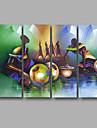 HANDMÅLAD Abstrakt Horisontell Panoramautsikt, Moderna Duk Hang målad oljemålning Hem-dekoration Fyra paneler