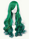 Парики из искусственных волос / Маскарадные парики Волнистый Зеленый Зеленый Искусственные волосы Жен. Зеленый Парик Средние Без шапочки-основы