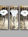 HANDMÅLAD Blommig/Botanisk Horisontell, Moderna Duk Hang målad oljemålning Hem-dekoration Tre paneler