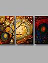 HANDMÅLAD Landskap Horisontell Panoramautsikt, Moderna Duk Hang målad oljemålning Hem-dekoration Tre paneler