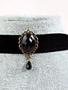 Dame Coliere Choker Bijuterii Gothic tatuaj cravată Sapphire sintetic Piatră Preţioasă Negru natural Pietre sintetice Dantelă Stil Tatuaj