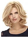 Femme Perruque Synthetique Mi Longue Boucle Blonde Partie laterale Coupe Carre Avec Frange Perruque Naturelle Perruque Deguisement