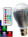 B22 Bulb LED Glob A60(A19) 3 led-uri LED Putere Mare Intensitate Luminoasă Reglabilă Telecomandă Decorativ RGB 500lm RGBK AC 100-240V