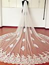 Voal de Nuntă Două Straturi Voaluri de Catedrală Margine cu Aplicație de Dantelă Tul Dantelă Alb Ivoriu