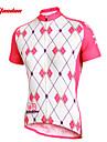 TASDAN Dames Korte mouw Wielrenshirt - White + roze Argyle Fietsen Shirt Kleding Bovenlichaam Ademend Sneldrogend Ultra-Violetbestendig Sport 100% Polyester Bergracen Wegwielrennen Kleding / Rekbaar