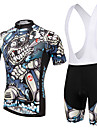 XINTOWN Kortärmad Cykeltröja med Haklapp-shorts Cykel Bib Shorts Tröja Klädesset, Snabb tork, UV-Resistent, Andningsfunktion,