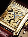 Bărbați Ceas de Mână ceas mecanic Mecanism manual Gravură scobită Piele Bandă Luxos Negru Maro